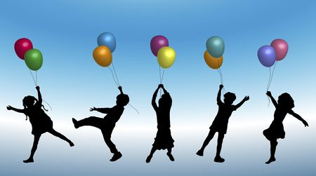 illustration of young children playing with balloons Stock Photo