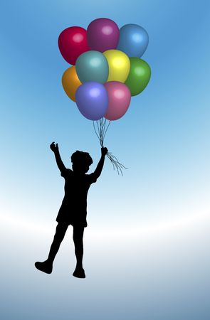 illustration of young boy playing with balloons