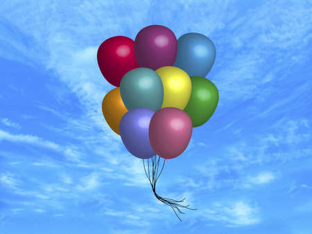 illustration of balloons floating in the sky