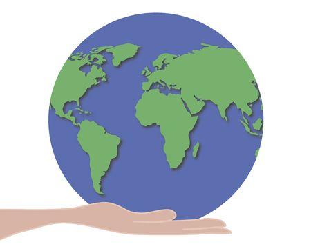 illustration of hand holding world globe Stock Illustration - 2746807