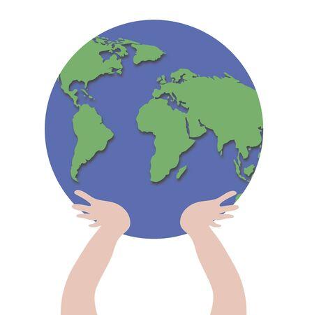 Ilustraci�n de manos sosteniendo el globo terr�queo Foto de archivo - 2746805