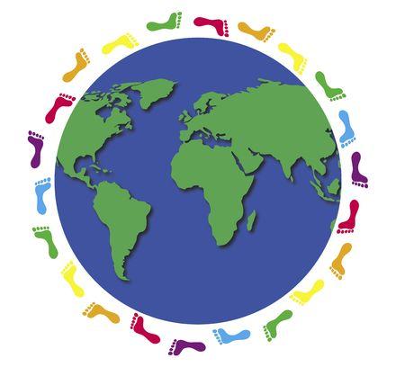 illustration of footprints around world globe