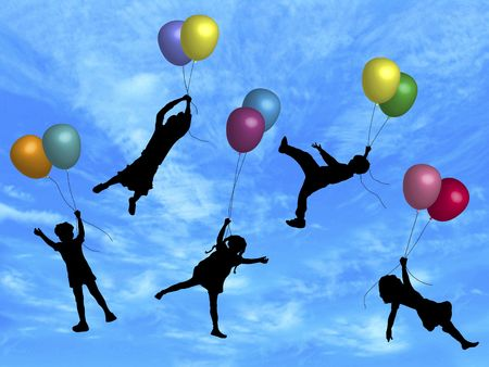 helium: illustration of children being carried up by balloons