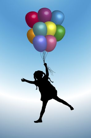 illustration of young girl playing with balloons