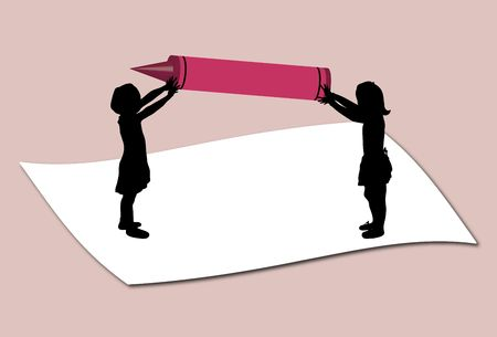 illustration of mini children holding large crayons Stock Illustration - 2778461