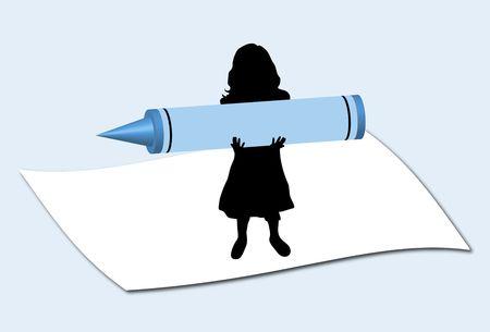 illustration of mini girl holding large crayon Stock Illustration - 2778459