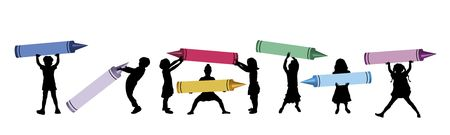illustration of mini children holding large crayons illustration