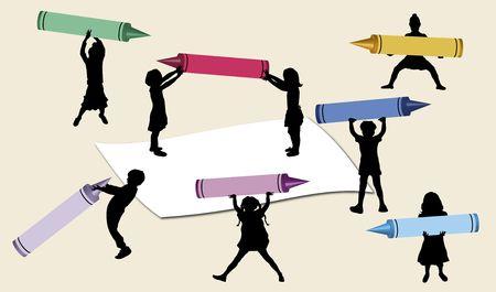 teaching crayons: illustrazione delle mini figli grandi pastelli azienda