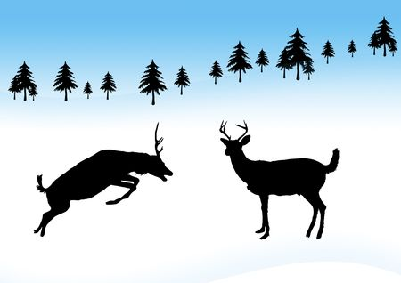 illustration of deer playing in the snow
