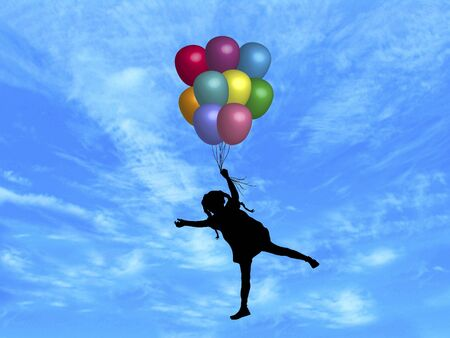 carried: illustration of girl being carried up by balloons