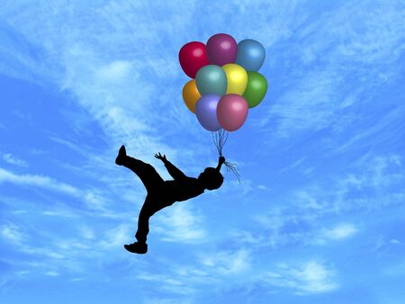 carried: illustration of boy being carried up by balloons