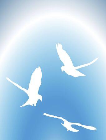 illustration de colombes volaient dans le ciel Banque d'images