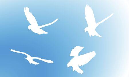 ilustraci�n de palomas volando en el cielo  Foto de archivo - 2791397