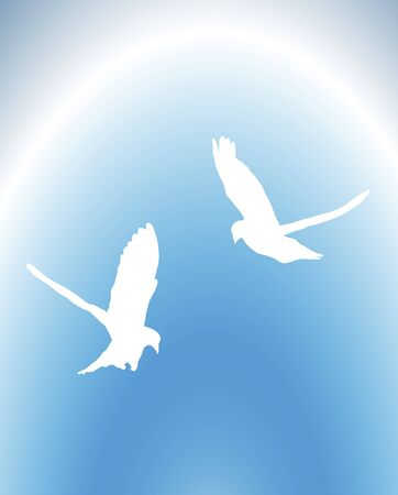 illustration of doves flying in the sky Stock Illustration - 2791396