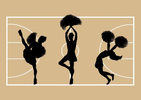 Illustration of cheerleaders on basketball court background Stock Illustration - 2806720
