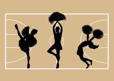 Illustration of cheerleaders on basketball court background Stock Illustration - 2806720