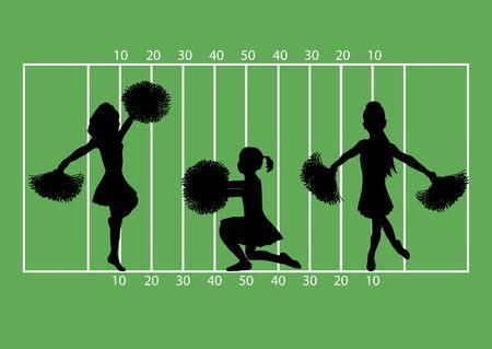 illustration of cheerleaders on football field background