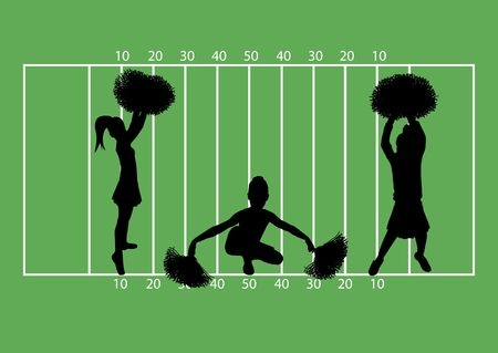black cheerleader: illustration of cheerleaders on football field background