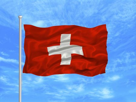 swiss flag: illustration of waving Swiss flag on blue sky