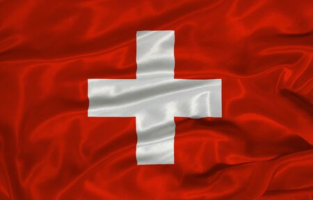 swiss flag: illustration of waving Swiss flag close up