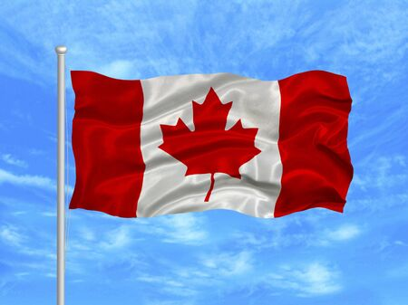 illustration of waving Canadian flag on blue sky  Stok Fotoğraf