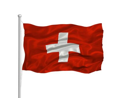 swiss flag: illustration of waving Swiss flag on white