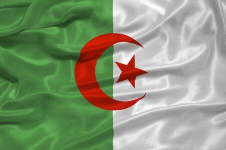 illustration of waving Algerian flag close up illustration