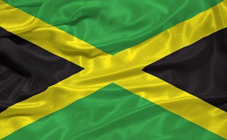 illustration of waving Jamaican flag close up