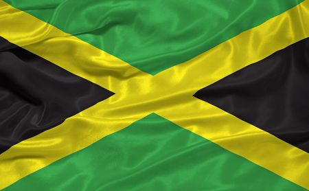 jamaican: illustration of waving Jamaican flag close up
