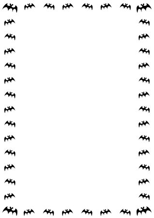 stationery borders: halloween border with black bats on white background