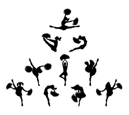 illustration of cheerleaders in pyramid on white