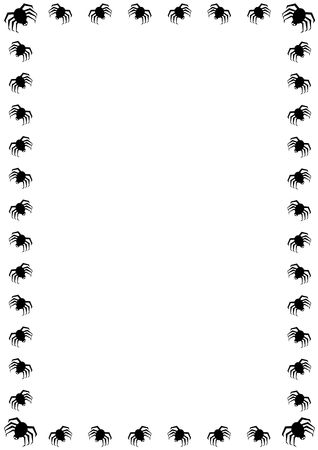 festive background: halloween border with black spiders on white background