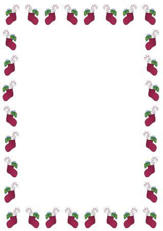 border of stockings on white background
