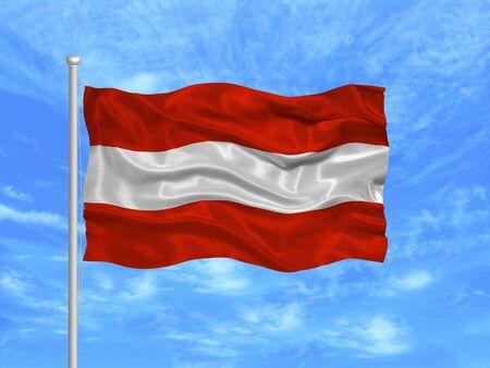 allegiance: illustration of waving Austrian flag on blue sky