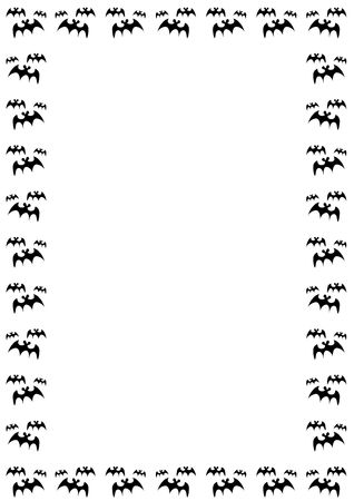 halloween border with black bats on white background