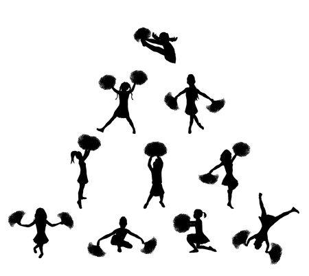 black cheerleader: illustration of cheerleaders in pyramid on white