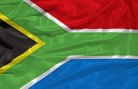 illustration of waving South African flag close up illustration