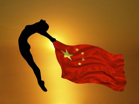 hosts: olympic athlete carrying flag of China on gold background