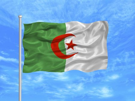algerian flag: illustration of waving Algerian flag on blue sky