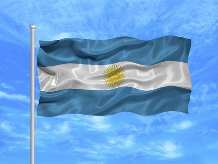argentinian flag: illustration of waving Argentinian flag on blue sky
