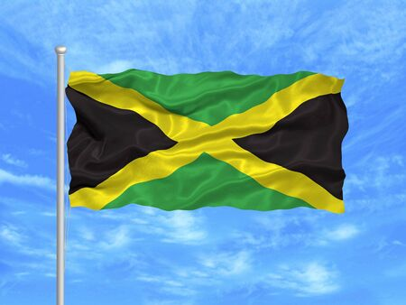 illustration of waving Jamaican flag on blue sky