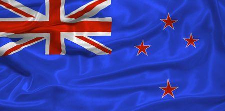 pledge of allegiance: illustration of waving New Zealander flag close up