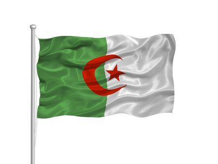 illustration of waving Algerian flag on white illustration