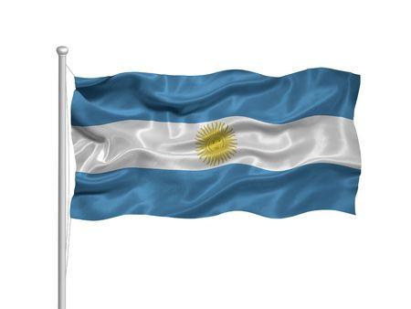 argentinian flag: illustration of waving Argentinian flag on white