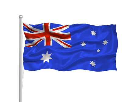 illustration of waving Australian flag on white Stock Photo