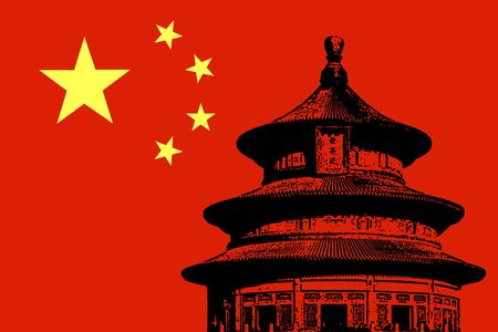 temple of heaven: illustration of Beijing Temple of Heaven on China Flag Stock Photo