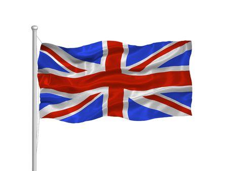 allegiance: illustration of waving Great Britian flag on white