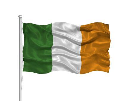 allegiance: illustration of waving Irish flag on white Stock Photo