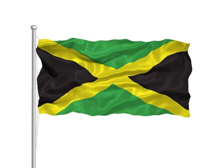 illustration of waving Jamaican flag on white Stock Photo