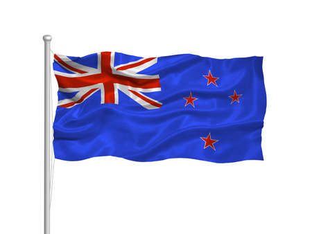illustration of waving New Zealander flag on white illustration